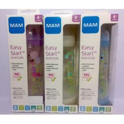 MAM biberón Easy Start Anti Colic tetina silicona flujo rápido 320 ml +4m